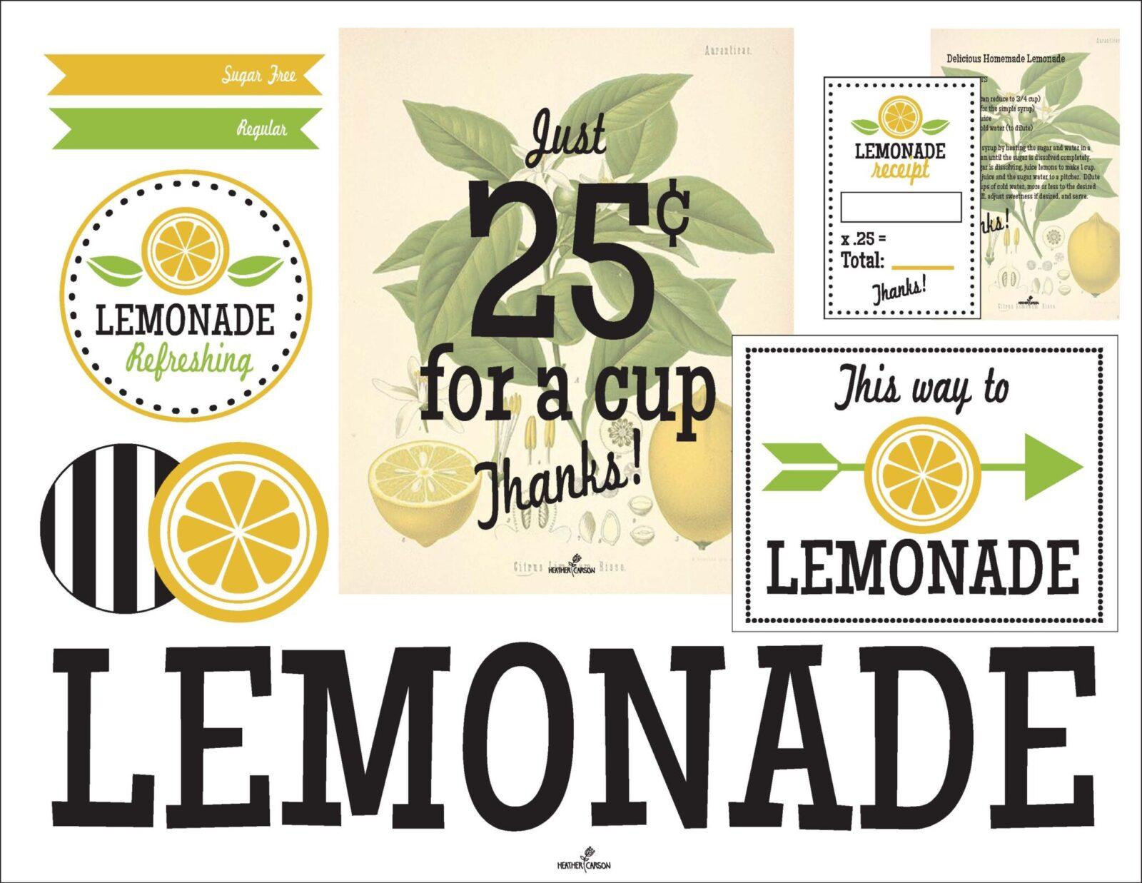 picture regarding Lemonade Sign Printable identified as Freebie Friday: Lemonade Stand No cost Printables
