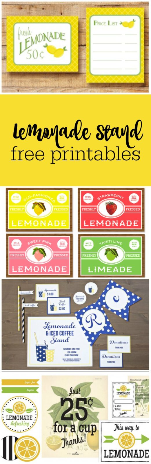Lemonade stand free printables curated by The Party Teacher