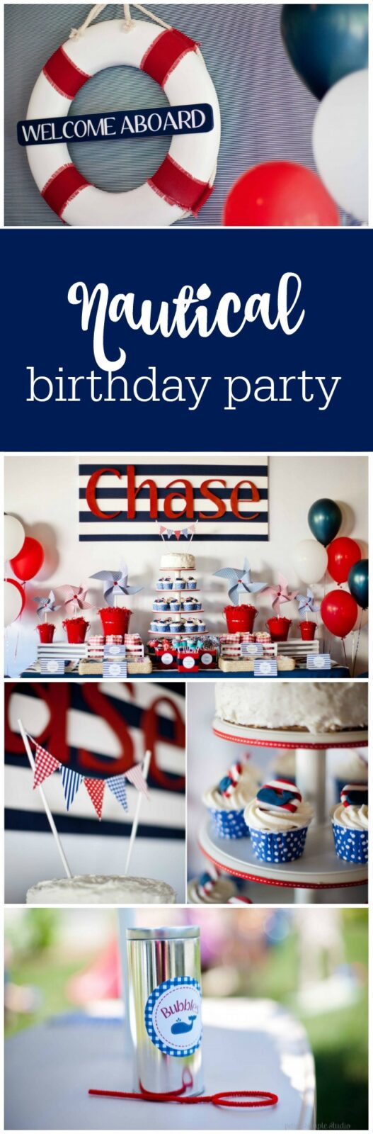 Nautical first birthday party by Paige Simple Studio featured on The Party Teacher