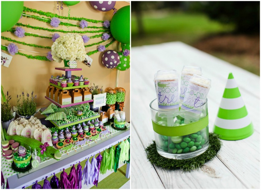 Crocodile birthday party by PBD featured on The Party Teacher - dessert table and push up pops
