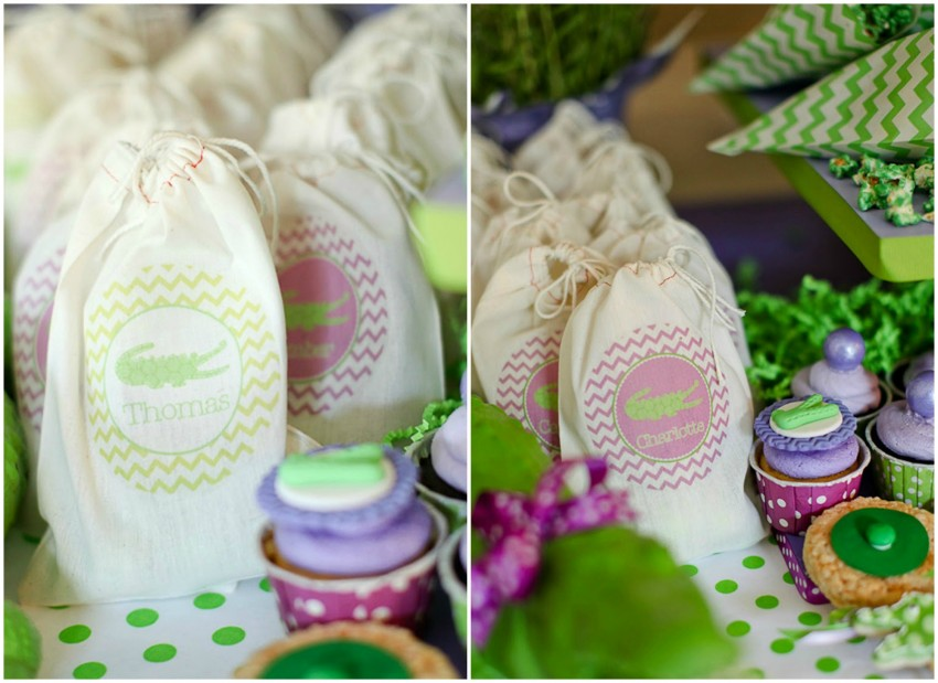 Crocodile birthday party by PBD featured on The Party Teacher - favor bags