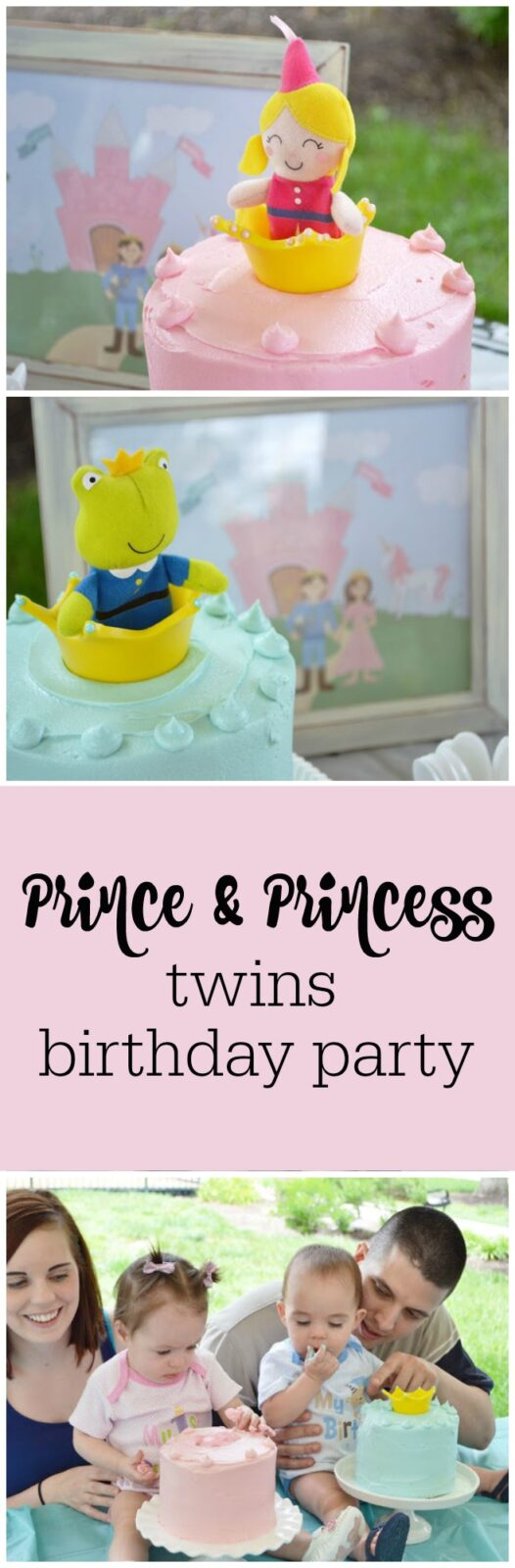 Prince and princess first birthday party for twins by Sunny by Design featured on The Party Teacher