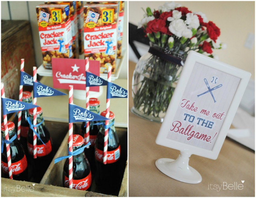 Vintage Baseball Party Cokes & Sign Collage