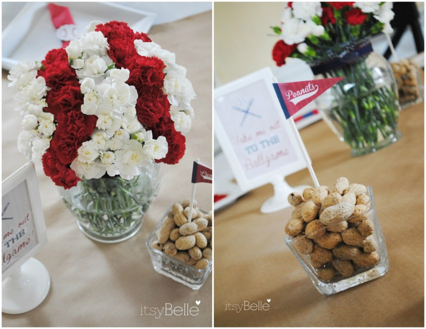 Vintage Baseball Party Flowers & Peanuts Collage