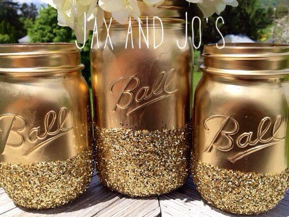 Glittered ball jars