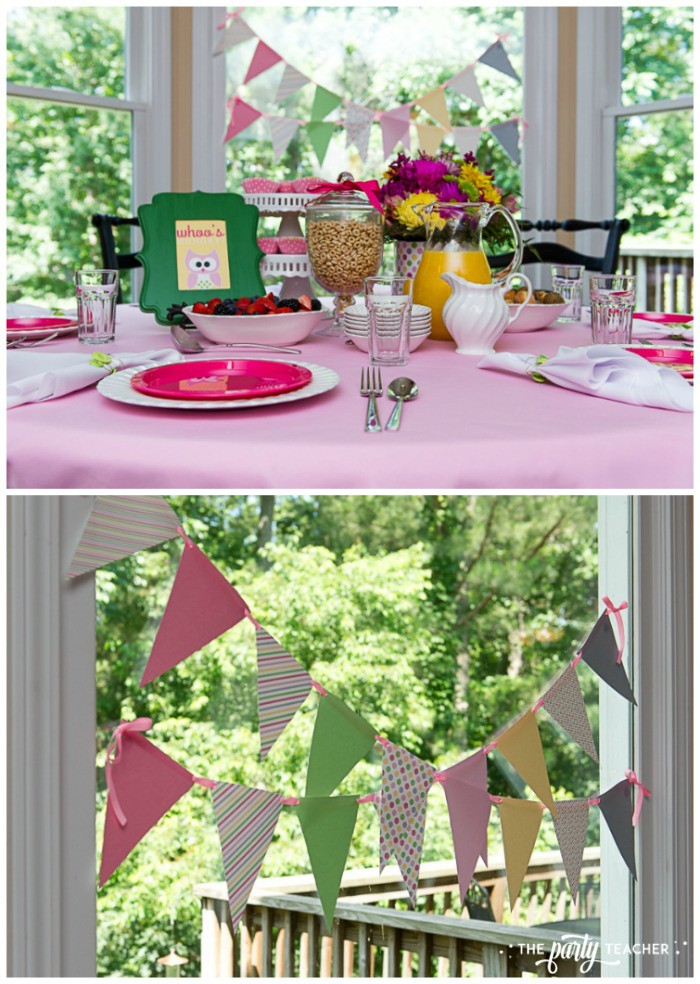 Night Owl Sleepover breakfast table with bunting by The Party Teacher
