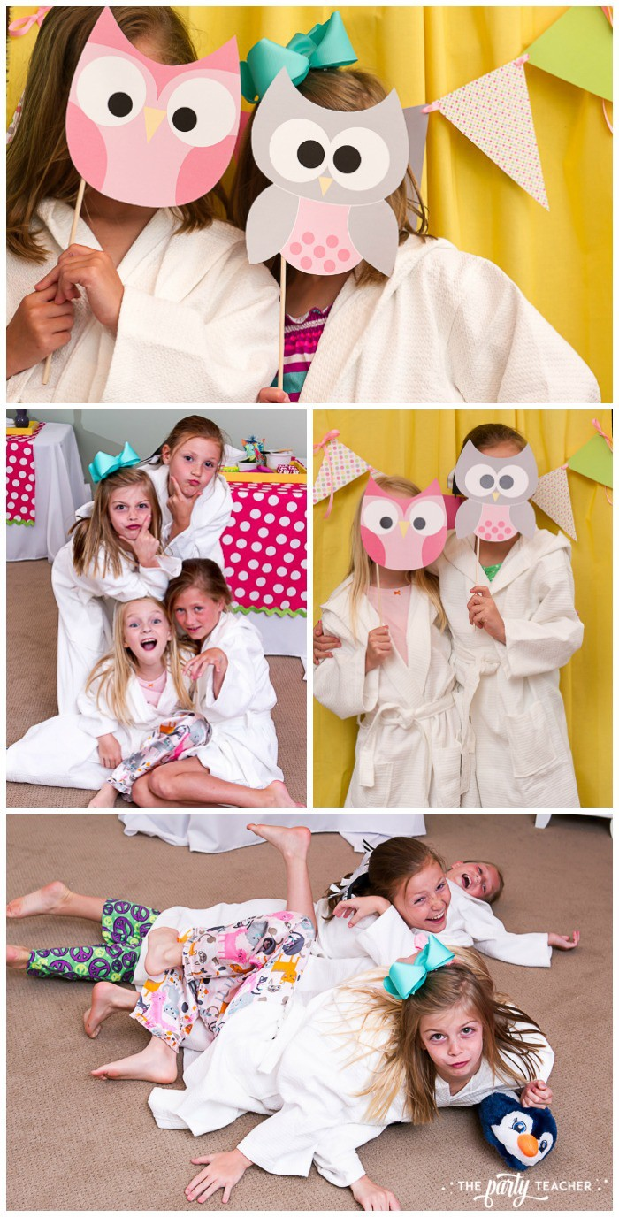 Night Owl Sleepover - spa robes and photo booth by The Party Teacher