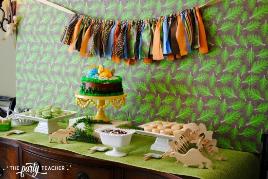 Dinosaur Baby Shower by The Party Teacher - dessert table