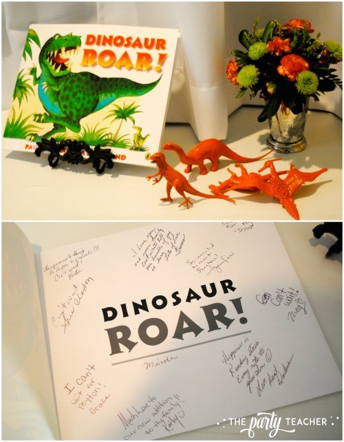 Dinosaur baby shower by The Party Teacher - Dinosaur Roar! guest book