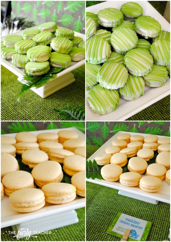 Dinosaur baby shower by The Party Teacher - chocolate covered Oreos and caramel macarons