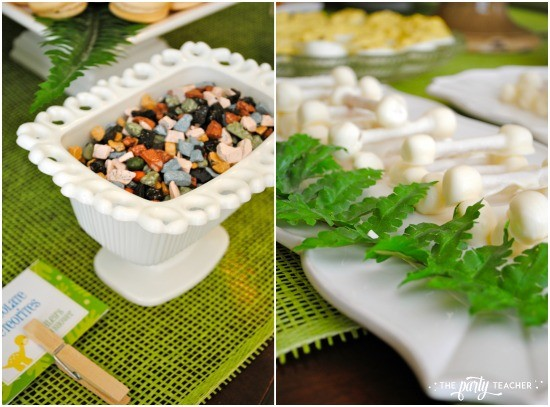 Dinosaur baby shower by The Party Teacher - chocolate meteorites and dinosaur bones