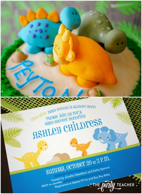 Dinosaur baby shower by The Party Teacher - dinosaur fondant and party invitation