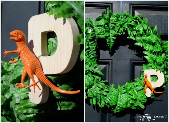 Dinosaur baby shower by The Party Teacher - fern dinosaur wreath