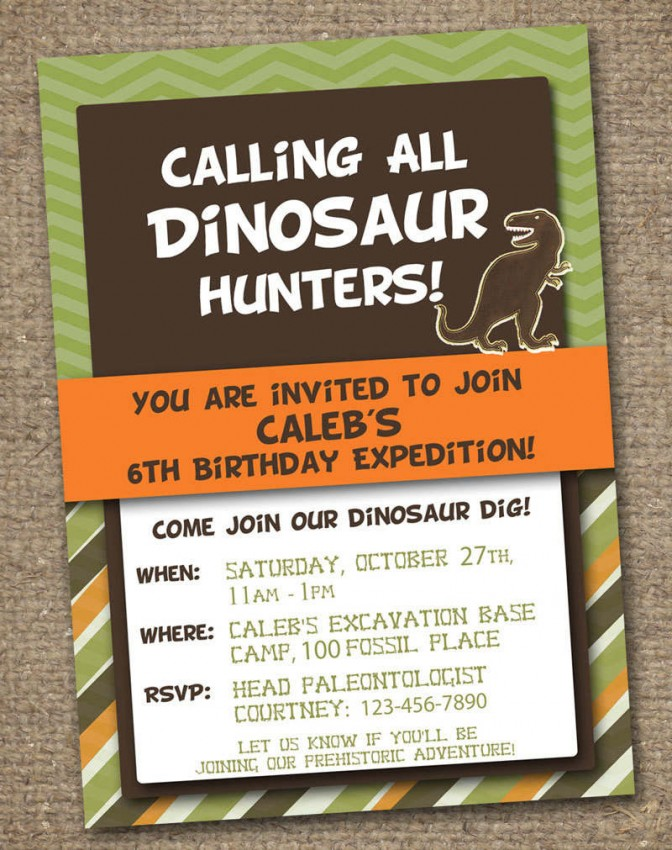 FF Invitation Templates Dinosaur