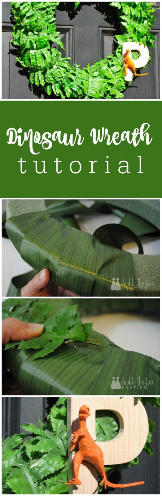 How to make a dinosaur party wreath by The Party Teacher