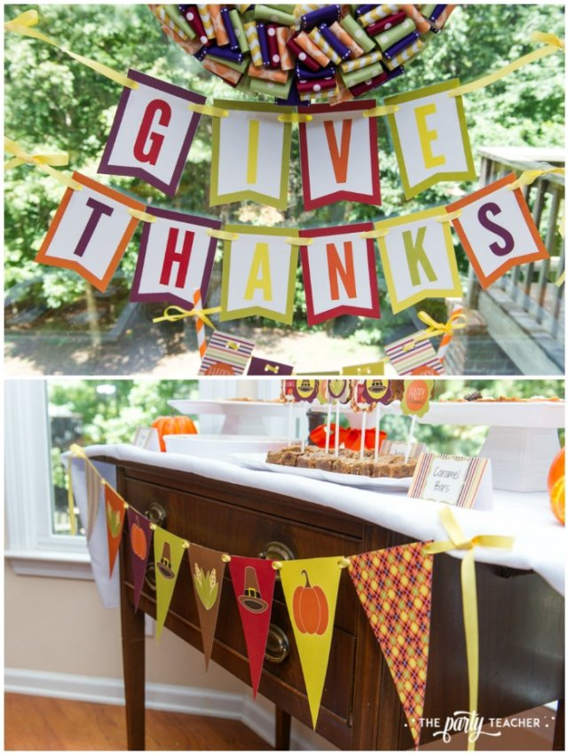 Bright and Colorful Thanksgiving Children's Table by The Party Teacher-printables
