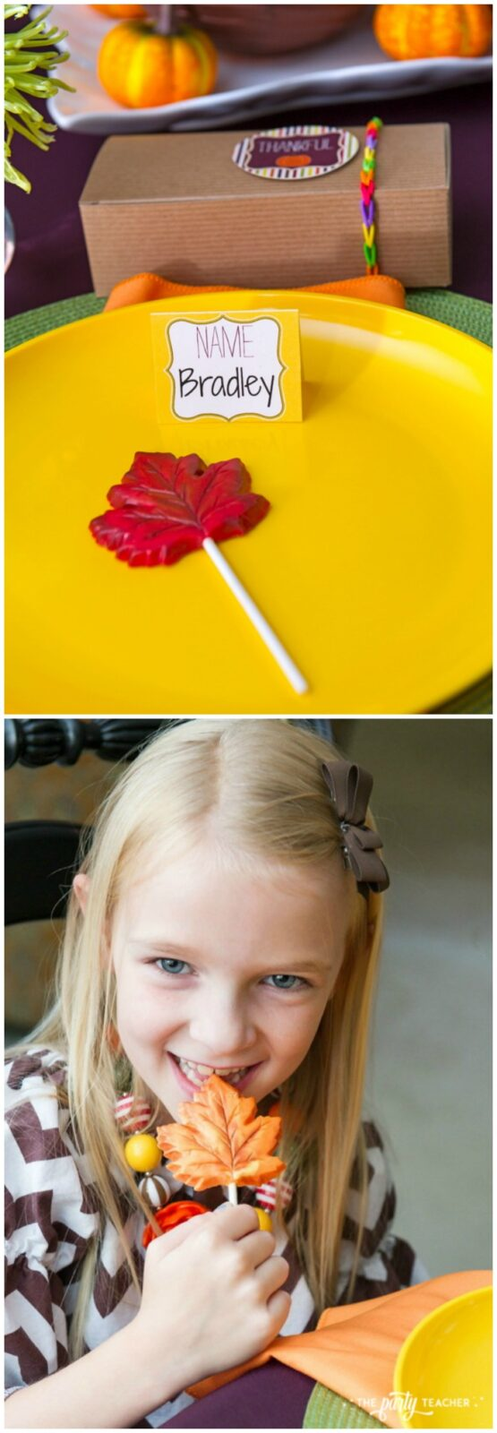 Bright and colorful Thanksgiving Party by The Party Teacher - chocolate leaf lollipops