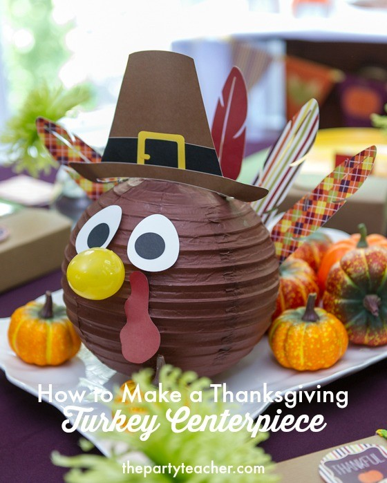 How to make a Thanksgiving turkey centerpiece from a paper lantern by The Party Teacher
