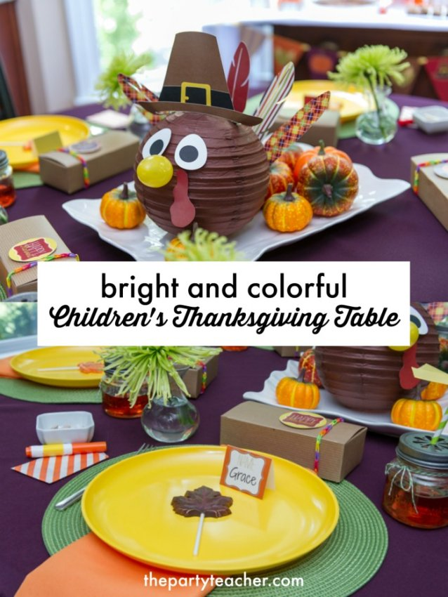 How to style a bright and colorful children's Thanksgiving Table by The Party Teacher
