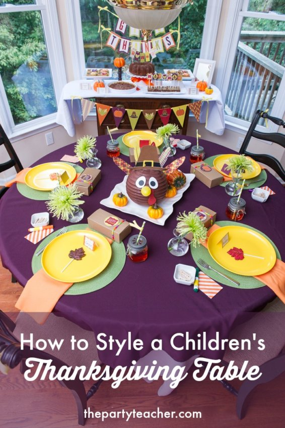 How to style a children's Thanksgiving table by The Party Teacher