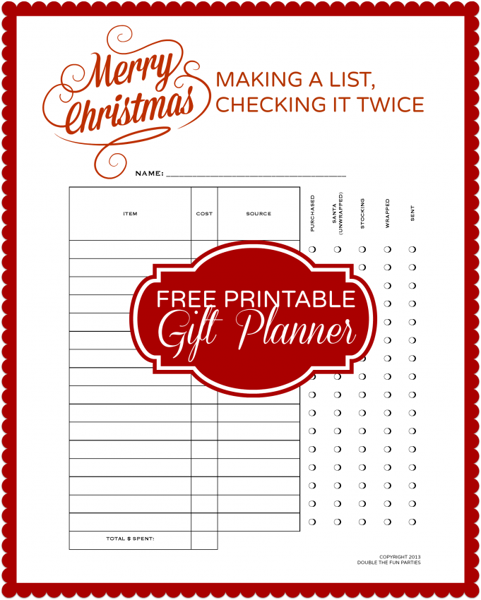 DFP Free Christmas Gift List Planner