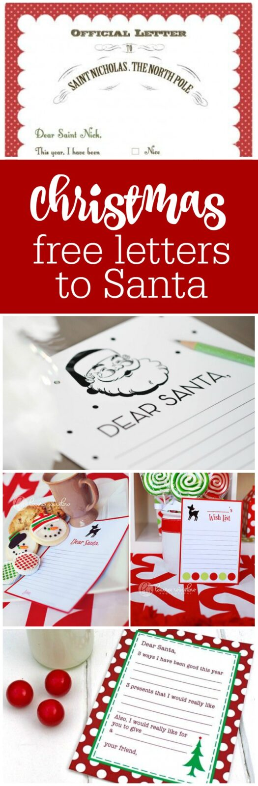 Free printable letters to Santa curated by The Party Teacher