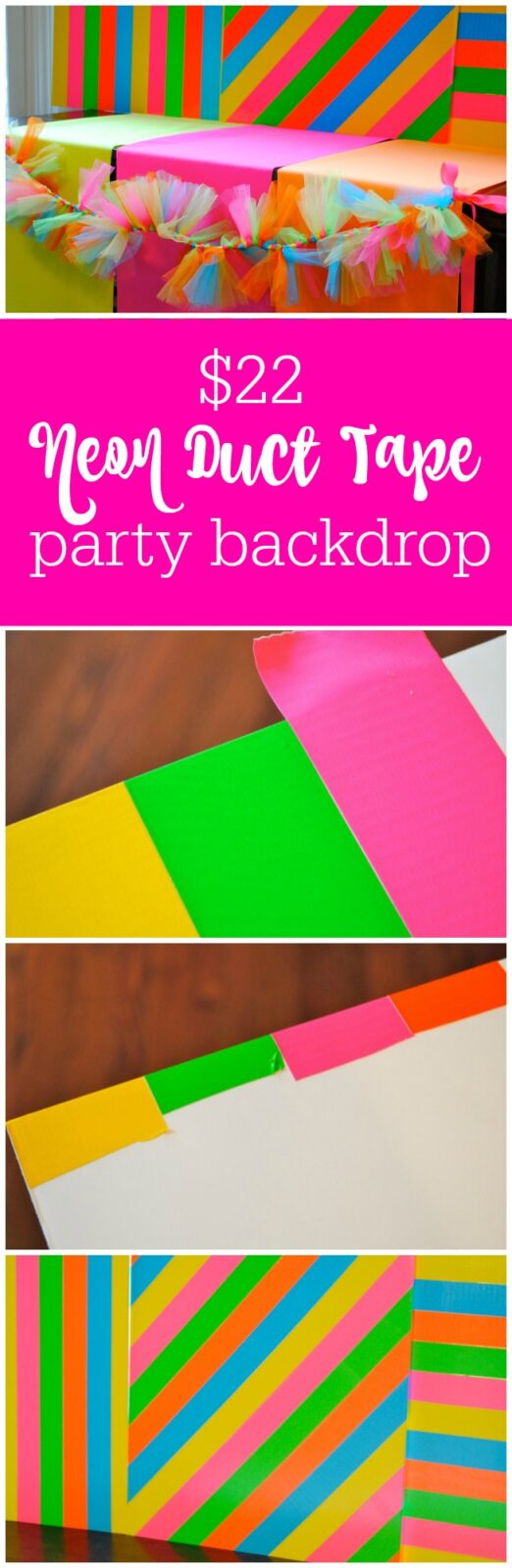 $22 neon duct tape party backdrop by The Party Teacher