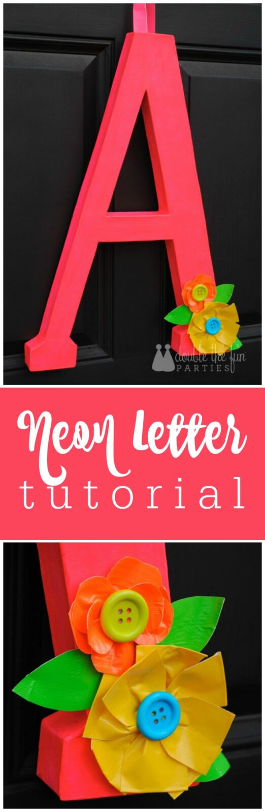 How to make a neon letter door decoration for yur neon party - The Party Teacher