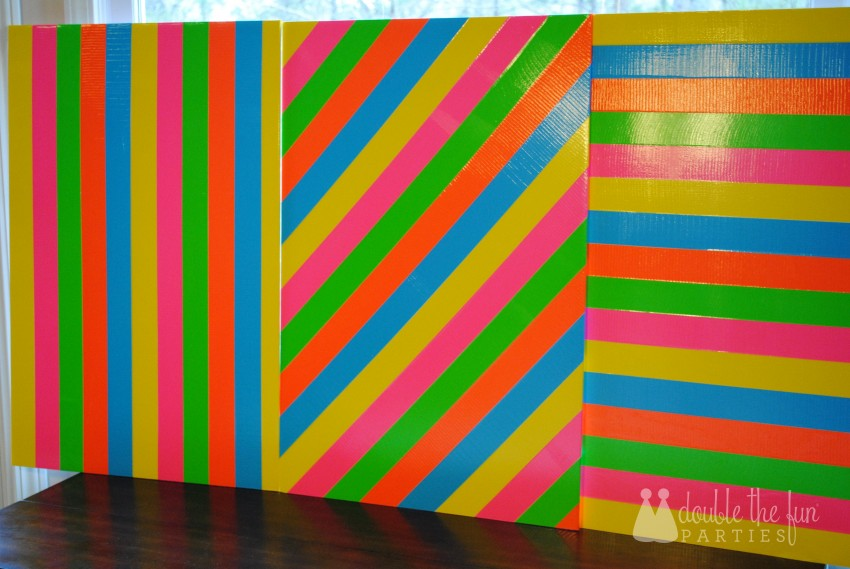 Neon Party Duck Tape Backdrop by Double the Fun Parties 0022