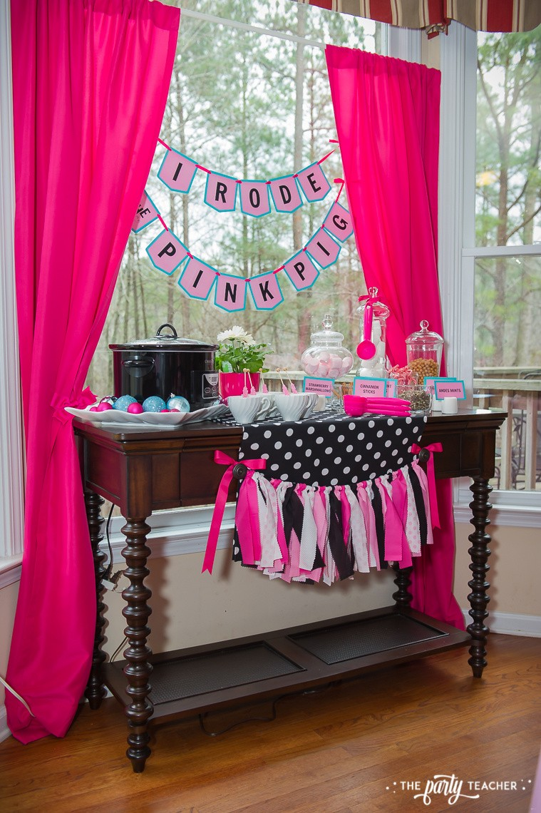 Pink Pig Hot Cocoa Party by The Party Teacher-curtains make an easy party backdrop