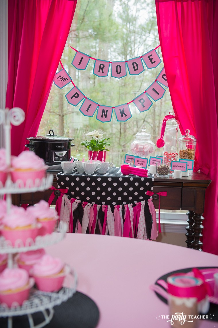 Pink Pig Hot Cocoa Party by The Party Teacher-dessert table