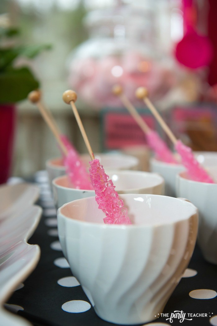 Pink Pig Hot Cocoa Party by The Party Teacher-cups with rock candy stirrers