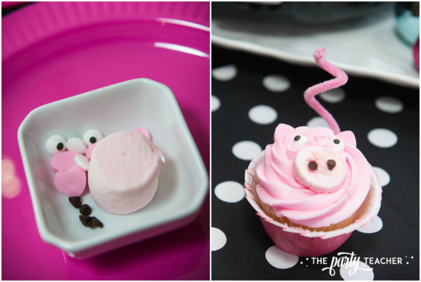 Pink Pig Hot Cocoa Party by The Party Teacher-pig cupcakes