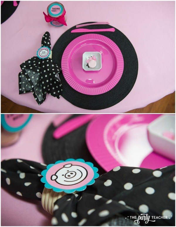Pink Pig Hot Cocoa Party by The Party Teacher-place setting