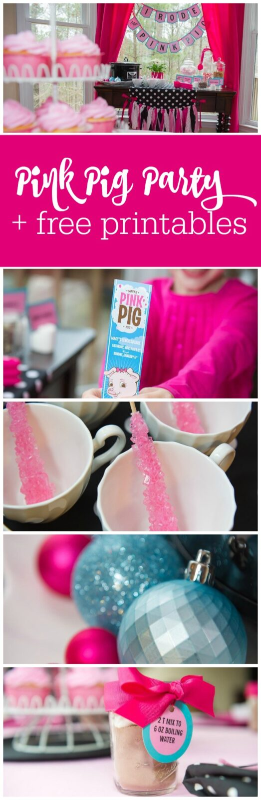 Pink Pig Party, hot cocoa bar and free printables by The Party Teacher