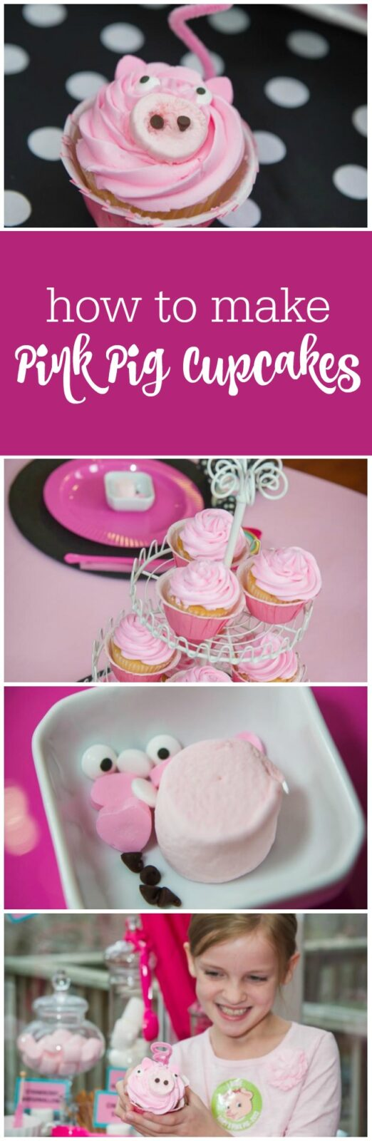 how to make pink pig cupcakes - perfect for a Pink Pig Party, Barnyard Party, Olivia Party, Peppa Pig Party by The Party Teacher