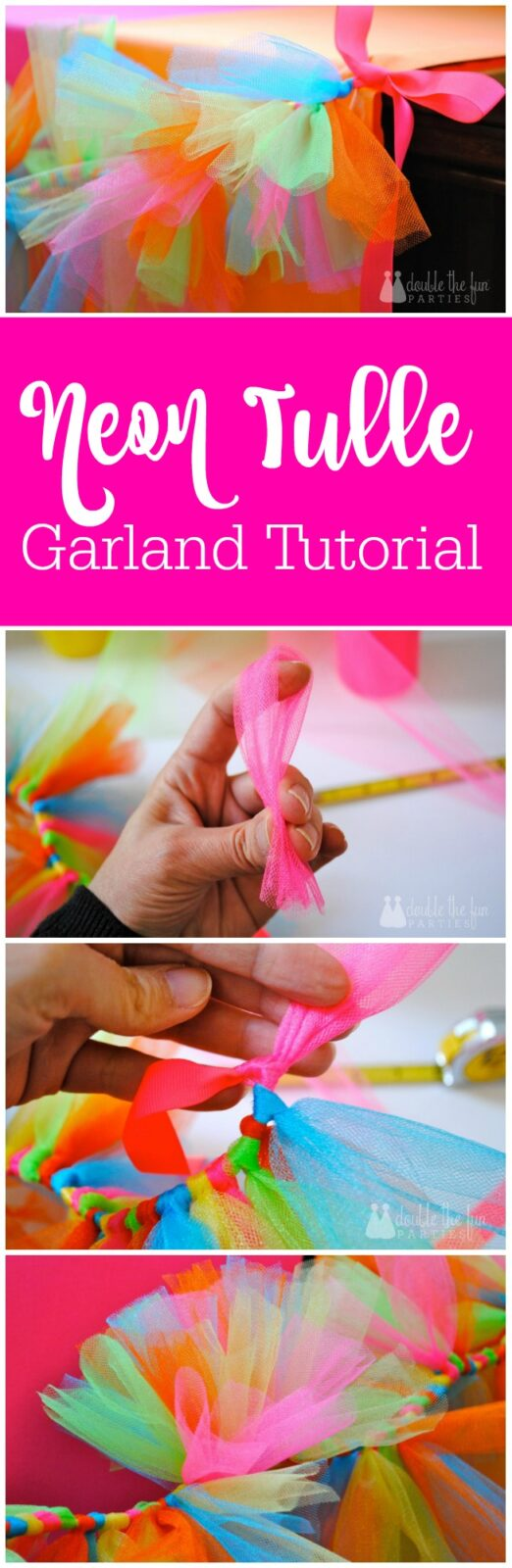 neon tulle garland tutorial by The Party Teacher