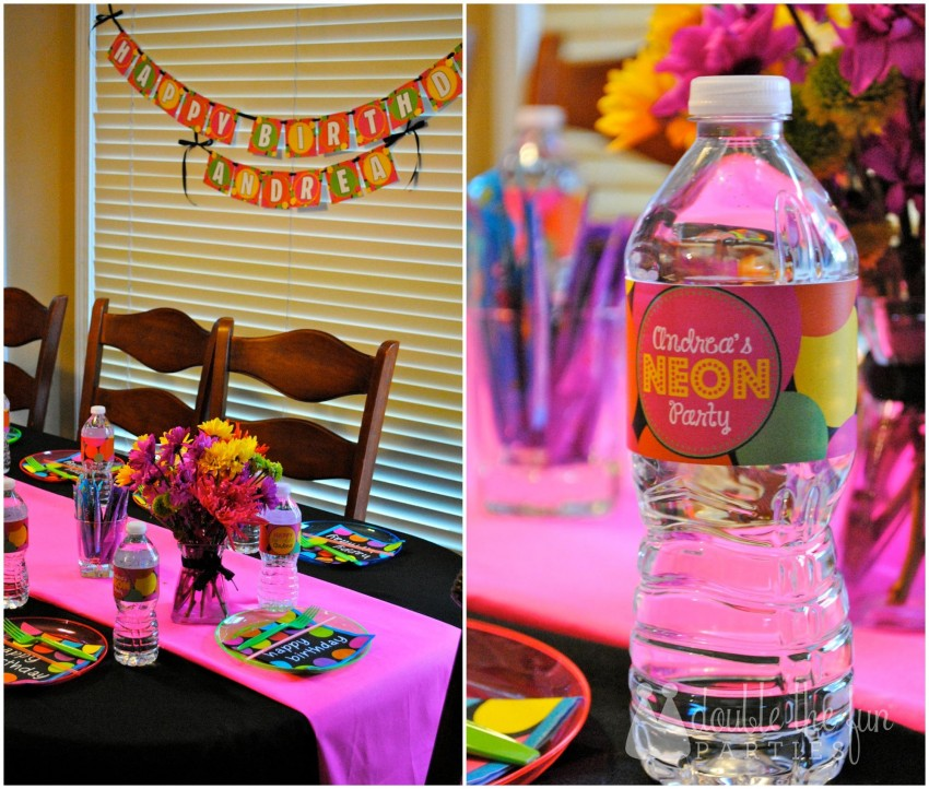 Neon Party Dining Table Collage