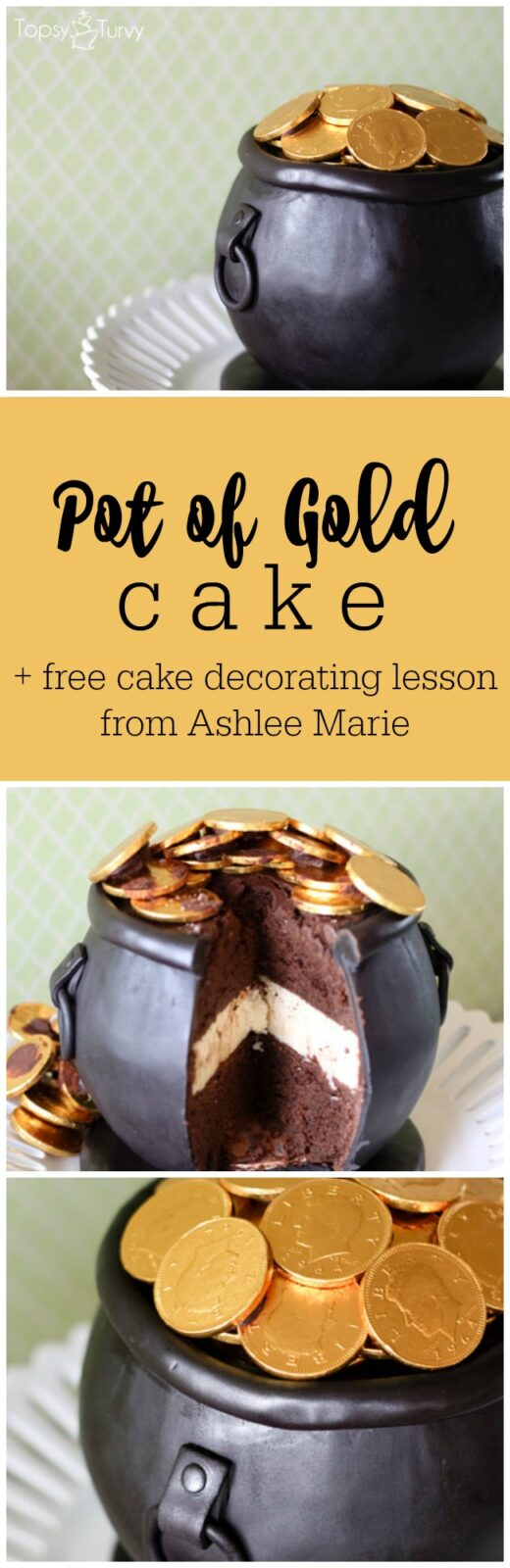 Pot of Gold Cake and free cake decorating video lesson from Ashlee Marie