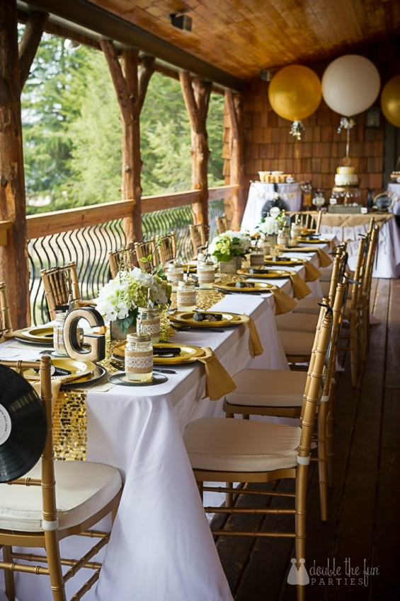 CMA country glam gold and white table by Double the Fun Parties wm
