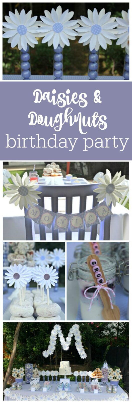 Daisies and Doughnuts Birthday Party by Bloom Designs Online featured on The Party Teacher