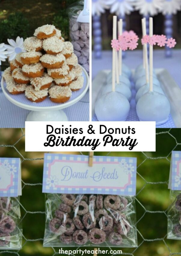 Daisies and donuts birthday party by Bloom Designs Online featured on The Party Teacher