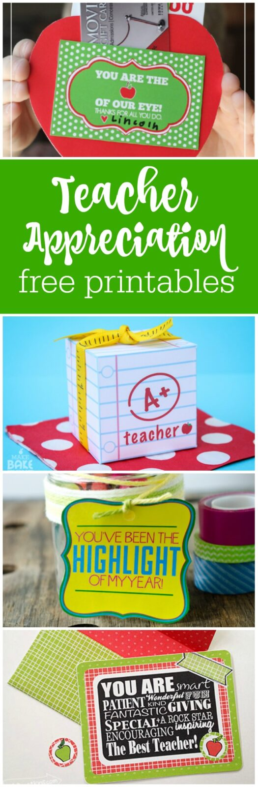 20 teacher appreciation free printables curated by The Party Teacher