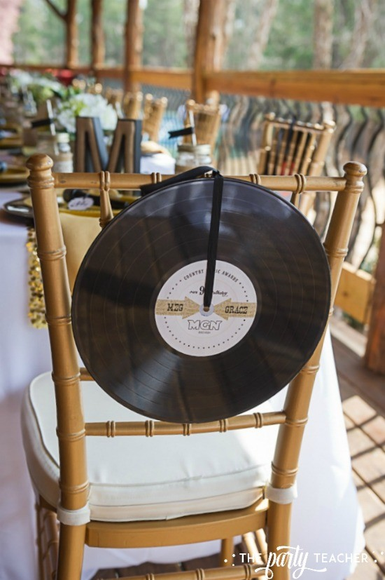 Country Music Awards Party by The Party Teacher - record album chair backer