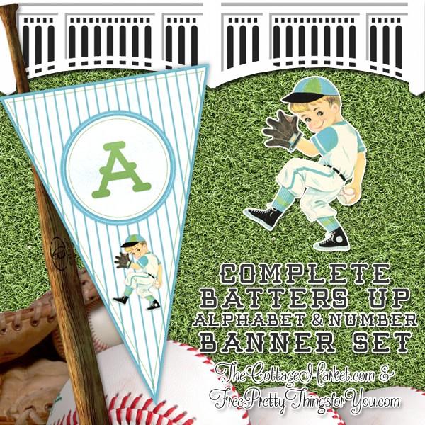 FF The Cottage Market Baseball Alphabet Banner