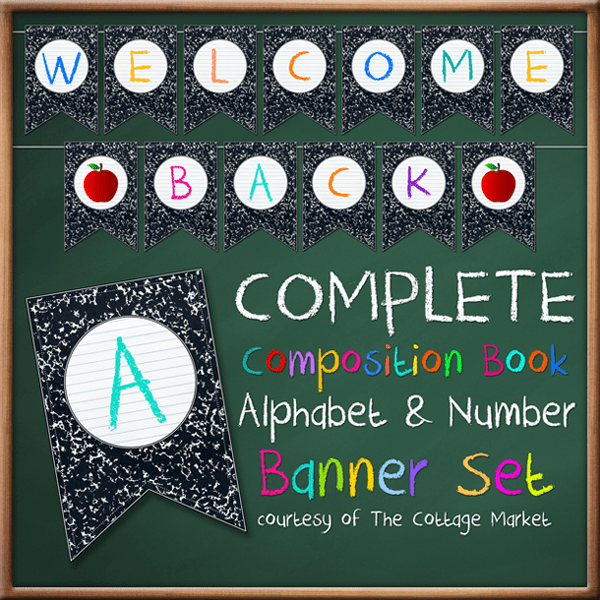 FF TheCottageMarket Composistion Book Alphabet Numbers Banner