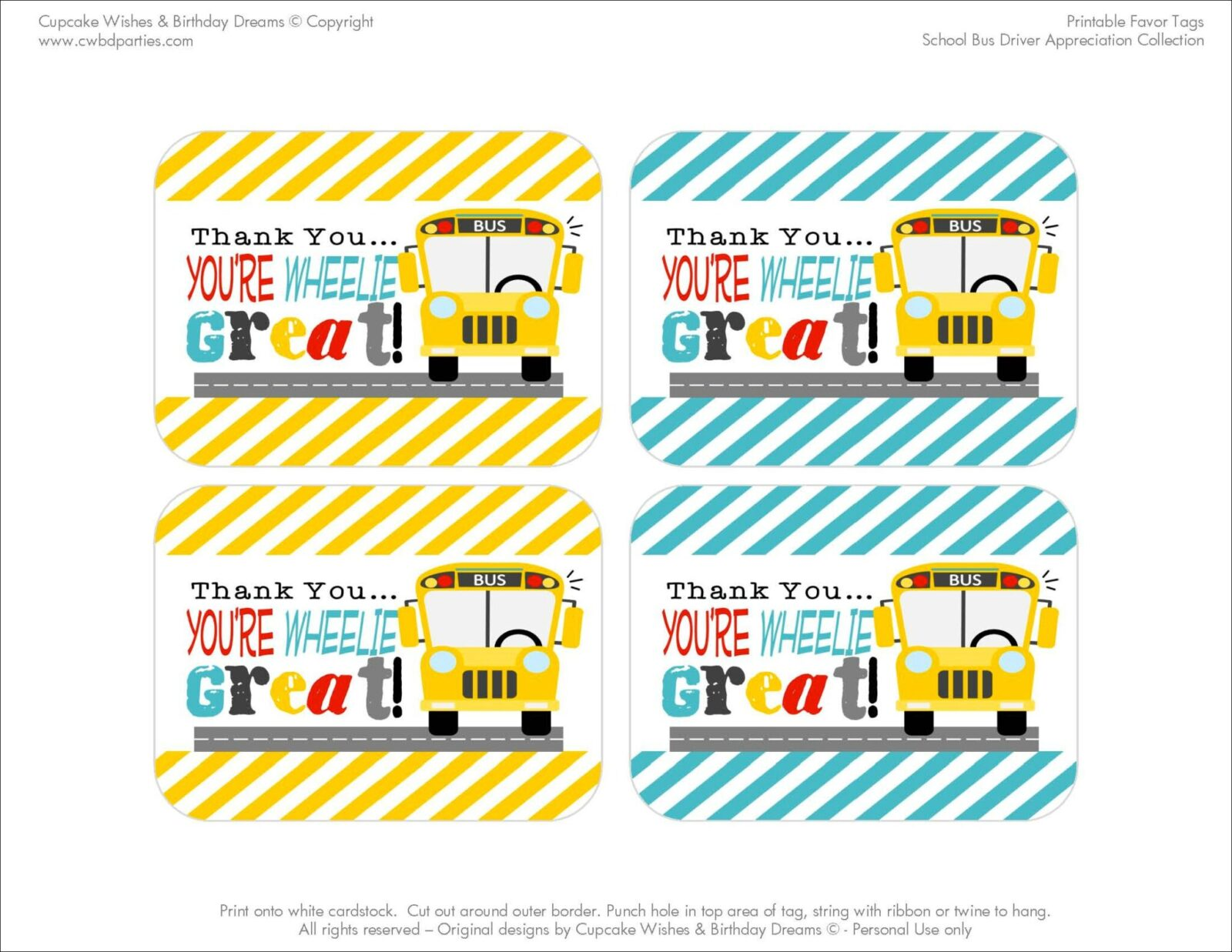 Free printables school bus driver appreciation school bus thank you printablespage3 negle Images