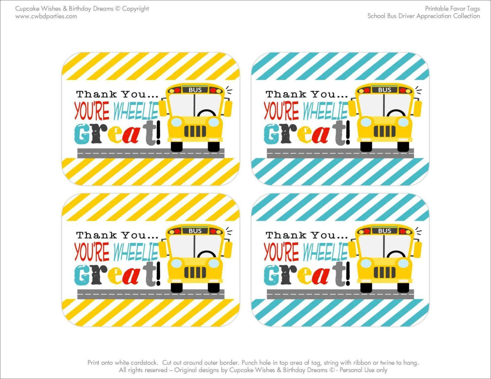 Free Printables School Bus Driver Appreciation The Party Teacher
