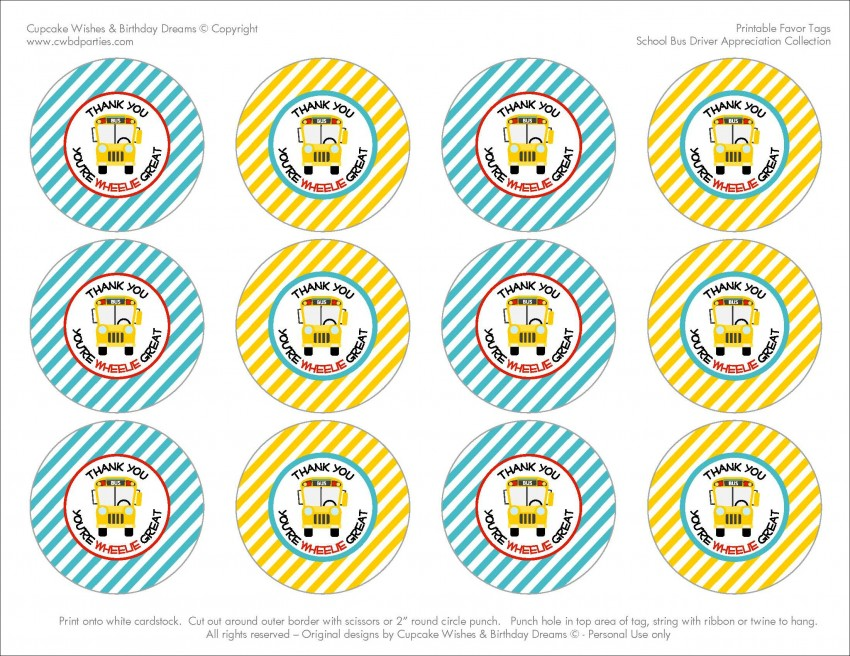 photograph regarding Thank You Tag Free Printable referred to as Free of charge Printables: College Bus Driver Appreciation