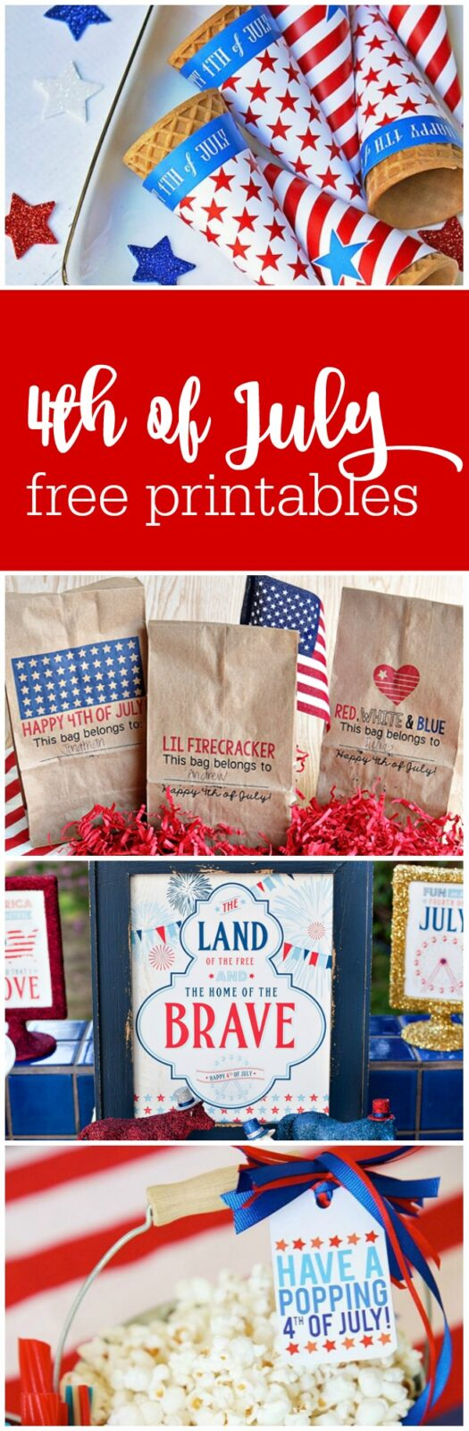 10 super cute free printables for 4th of July curated by The Party Teacher